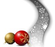 Christmas card - snowflakes with bulbs. Christmas card - snowflakes with golden and red bulbs Royalty Free Stock Photos