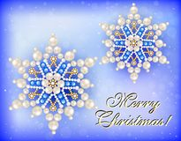 Christmas card with snowflakes and congratulation. Illustration christmas card with snowflakes and congratulation Royalty Free Stock Photography