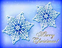 Christmas card with snowflakes and congratulation. Illustration christmas card with snowflakes and congratulation Royalty Free Stock Images