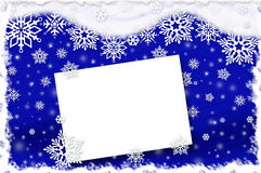 Christmas card with snowflakes on dark blue background Royalty Free Stock Photos