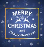 Christmas card with snowflakes and golden frame. Vector Christmas card with snowflakes and greeting inscription on a blue background. Merry Christmas lettering Royalty Free Stock Image