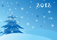 Christmas card with  snowflakes and New Year tree Royalty Free Stock Images