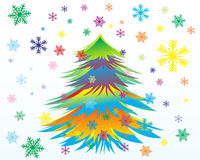 Christmas card with  snowflakes and New Year tree Stock Photos