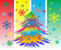Christmas card with  snowflakes and New Year tree Royalty Free Stock Photography
