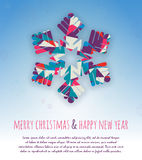 Christmas card with snowflakes and place for text Stock Images