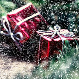 Christmas card with  snowflakes, present box and fir cone tree o Royalty Free Stock Photos