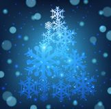 Christmas card with snowflakes shape of christmas tree. Illustration Royalty Free Stock Image