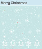 Christmas card with snowflakes and trees Stock Photo