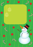 Christmas card with snowman Stock Image