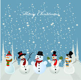 Christmas card, snowman. Illustration background Royalty Free Stock Image