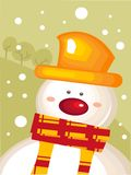 Christmas card with snowman. Illustration Royalty Free Stock Image