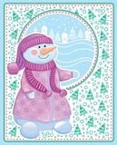 Christmas card with snowman Stock Photography