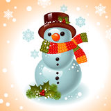 Christmas card. snowman. On the background of snowflakes.Vector illustration Stock Photos