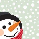 Christmas card with snowman vector illustration