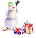 Christmas card with snowman. Watercolor painting Stock Photography