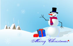 Christmas card with a snowman Stock Image