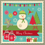 Christmas card with snowman. Scrapbook inspired  scrapbook Christmas card with snowman Royalty Free Stock Image