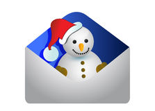 Christmas card with a snowman Royalty Free Stock Photo