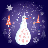 Christmas card with a snowman. Bright cheerful Christmas card with a snowman on a blue background with snow and trees Stock Images