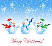 Christmas card, snowman Royalty Free Stock Image