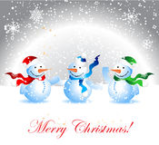 Christmas card, snowman Royalty Free Stock Images