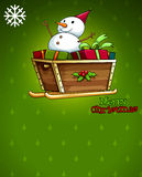 A christmas card with a snowman above the sleigh Royalty Free Stock Images