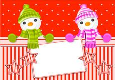 Christmas card with snowman Stock Photo