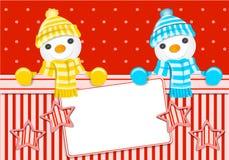 Christmas card with snowman Stock Photos