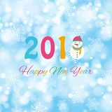 Happy new year 2018 background with snowman and snow, vector illustration. Royalty Free Stock Images
