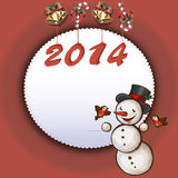 Christmas card. With a snowman and birds Royalty Free Stock Images