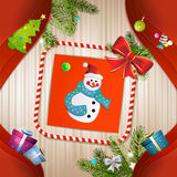 Christmas card with snowman. Bow and pine tree Royalty Free Stock Photo