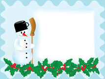 Christmas card with snowman. And broom without text Royalty Free Stock Photos