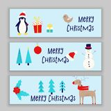 Christmas card with snowman. Penguin and deer Stock Photo