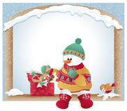 Christmas card with snowman and cookies Royalty Free Stock Photography
