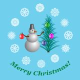 Christmas card with a snowman decorating a Christmas tree with Christmas balls, illustration royalty free illustration
