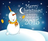 Christmas card with snowman. EPS 10 vector Stock Photo