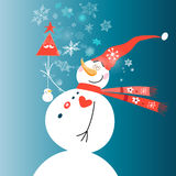 Christmas card with a snowman. Festive Christmas card with a cheerful snowman on the background with snowflakes Royalty Free Stock Image