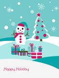 Christmas card with snowman and fir Stock Photos