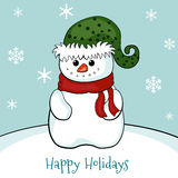 Christmas card with snowman. Royalty Free Stock Image