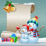Christmas card with a snowman and gift boxes on winter background. Illustration of Christmas card with a snowman and gift boxes on winter background Stock Photo