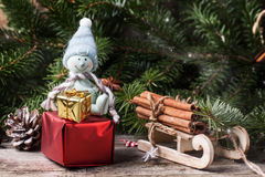 Christmas card with snowman and gifts Royalty Free Stock Photography