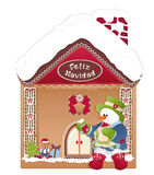 Christmas card- snowman, ginger house and feliz navidad Royalty Free Stock Image