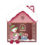 Christmas card with snowman and ginger house royalty free stock image