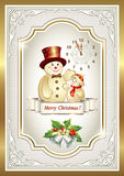 Christmas card with a snowman. In a golden decoration frame with clock royalty free illustration