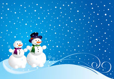 Christmas card with snowman Royalty Free Stock Image