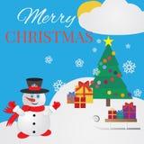 Christmas card.  Snowman, Сhristmas tree, snow, snowflakes Stock Images