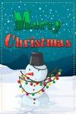 A christmas card with a snowman Royalty Free Stock Photos
