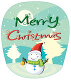 A christmas card with a snowman Royalty Free Stock Images