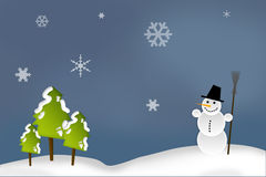 Christmas Card - Snowman In The Forest Stock Photography