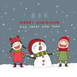 Christmas card with snowman and kids in Christmas snow scene. vector illustration